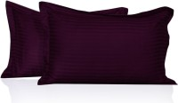 Lnt Striped Pillows Cover (Pack Of 2, 43.2 Cm*69 Cm, Maroon)