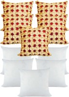 Zikrak Exim Laser Cut Floral With Filler Floral Cushions Cover (Pack Of 10, 40*40, Beige, Maroon)