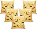 Zikrak Exim Leaves Patch Beige With Filler Cushions Cover - Pack Of 10