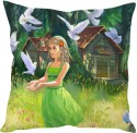 StyBuzz Cute Girl In Green Cartton (12x12) Cushions Cover - Pack Of 1
