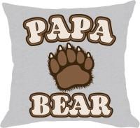 Dazzilo Papa Bear Cushion Cover Printed Cushions Cover (40.64 Cm*40.64 Cm, White)