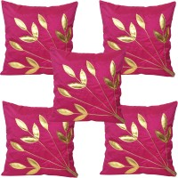 JBG Home Store Floral Cushions Cover (Pack Of 5, 40 Cm, Pink)