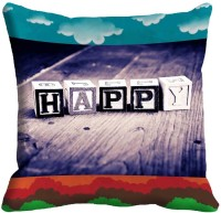 Holicshop Happy Digitally Cushion Cover Printed Cushions Cover (40.64 Cm*40.64 Cm, Multicolor)