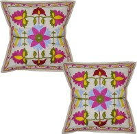 Lal Haveli Ethnic Sujani Cushions Covers 16x16 Inches Embroidered Cushions Cover (Pack Of 2, 41 Cm*41 Cm, Beige)