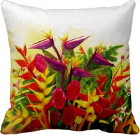 Tiedribbons Yellow And Red Color Flower's Printed Cushions Cover (40 Cm*40 Cm, Multicolor)