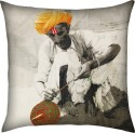 13 Odds 13 Odds Classic Village Man Print & Embroidery, Black & White/Multicolor Highlights Cushion Cushions Cover - Pack Of 1