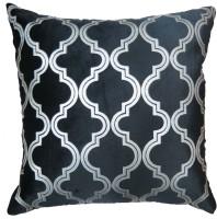 Aawrun Velvet Quatre Foil Print (Black) Printed Cushions Cover (40 Cm*40 Cm)