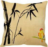StyBuzz Cream Abstract With Bird (12x12) Cushions Cover (Pack Of 1)