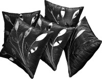 Zikrak Exim Embroidered Cushions Cover (Pack Of 5, 30 Cm*30 Cm, Black)