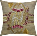 13 Odds 13 Odds Contemporary Playing Cards Begum Embroidery On Khadi In Gold Silver & Magenta Cushion Cushions Cover - Pack Of 1