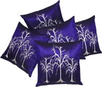 Zikrak Exim Embroidered Cushions Cover (Pack Of 5, 40 Cm*40 Cm, Blue)