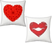Indigocart Fancy Floral Heart Design And Lips In Heart Shape Design Decorative Cushion Multi-Color