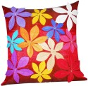 ZIKRAK EXIM Felt Flower Patch Red Cushions Cover - Pack Of 1