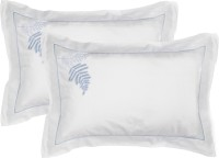 Milano Home Embroidered Pillows Cover Pack Of 2, 48 Cm*76 Cm, White, Blue