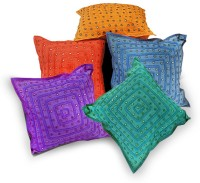 Little India Designer Embroidery Cotton Self Design Cushions Cover (Cushion Pillow Cover, 40.64*40.64)