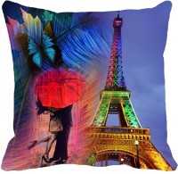 Mesleep Eiffel Tower Digitally Printed Cushions Cover (Pack Of 1)