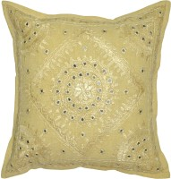 Lal Haveli Handmade Home Decor Embroidery Mirror Work Embroidered Cushions Cover (41 Cm*41 Cm, Green)