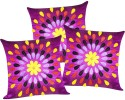 ZIKRAK EXIM Felt Leaves Patch Purple Cushions Cover - Pack Of 3