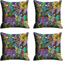 Mesleep Multi Face Digitally Printed Cushions Cover - Pack Of 4