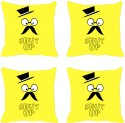Mesleep Yellow Shut Up Digitally Printed Cushions Cover - Pack Of 4