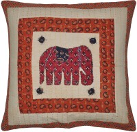 Lal Haveli Handmade Elephant Patchwork Abstract Cushions Cover (Cushion Cover, 60.96 Cm*60.96 Cm)