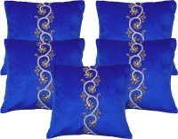 Home Shine Embroidered Cushions Cover (Pack Of 5, 40 Cm*40 Cm, Blue)