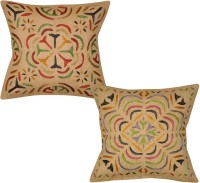 Lal Haveli Rajasthani Home Furnishing Cut Work Embroidered Design Indian Cases Throw 16x16 Inches Embroidered Cushions Cover (Cushion Pillow Cover, 41 Cm*41 Cm)