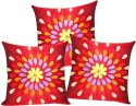 ZIKRAK EXIM Felt Leaves Patch Red Cushions Cover - Pack Of 3