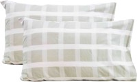 Milano Home Checkered Pillows Cover Pack Of 2, 48 Cm*76 Cm, Light Green