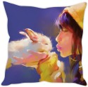 StyBuzz Girl With Rabbit Cushion Cover Cushions Cover - Pack Of 1