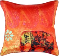 The Indian Promenade Elephant Shades Of India Graphic Cushions Cover (Pink)