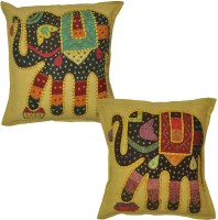 Lal Haveli Indian Handmade Jogi Elephant Embroidery Work Cotton 16x16 Inches Abstract Cushions Cover (Pack Of 2, 41 Cm*41 Cm, Green)