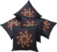 Zikrak Exim Embroidered Cushions Cover (Pack Of 5, 40 Cm*40 Cm, Black)
