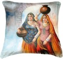 Belkado Digital Print Indian Woman IV Cushions Cover - Pack Of 1
