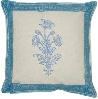 Lal Haveli Rajasthani Flower Design Block 16x16 Inches Printed Cushions Cover (Pack Of 2, 41 Cm*41 Cm, Blue)