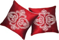 Zikrak Exim Embroidered Cushions Cover (Pack Of 2, 40 Cm*40 Cm, Red)