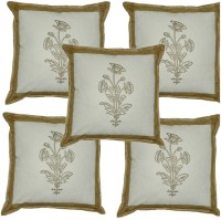 Lal Haveli Floral Design Jaipuri Sanganeri Print Work Printed Cushions Cover (Pack Of 5, 41*41)