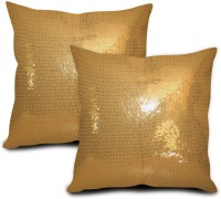 StyBuzz Embroidered Cushions Cover (Pack Of 2, 40.64 Cm*40.64 Cm, Gold)