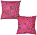 Lal Haveli Handmade Patchwork Embroidered Cushions Cover - Pack Of 2 - CPCDYP9YEHFGKMHE