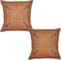 Lal Haveli Embroidered Cushions Cover (Pack Of 2, 41 Cm*41 Cm, Peach) - CPCE8BZ953GABMHM