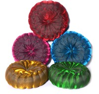 KKD Round Filled Flower Self Design Cushions Cover (Set Of 5 Pcs Cushions, 30*5)