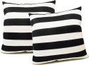 ZIKRAK EXIM Straight Stripe Black N White Cushions Cover - Pack Of 2