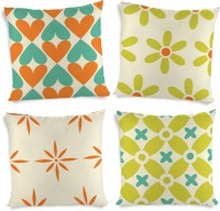 ShopMantra Flowers And Heart Printed Cushions Cover (4 Cushion Pillow Cover, 40.64 Cm*40.64 Cm)