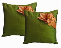 Dekor World Floral Cushions Cover (Pack Of 5, 40 Cm*40 Cm, Green)