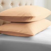 LNT Linen Solid Cushions, Pillows Cover (Pack Of 2, 43.2 Cm*69 Cm, Peach)
