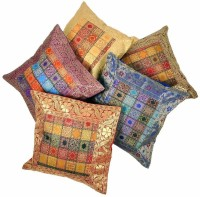 Little India Brocade Multicolor Design Set 449 Self Design Cushions Cover (Pack Of 5, 40.64*40.64)