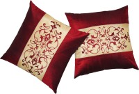 Zikrak Exim Embroidered Cushions Cover (Pack Of 2, 40 Cm*40 Cm, Maroon, Beige)