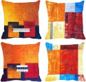 MeSleep Multi Squares Digitally Printed Cushions Cover - Pack Of 4
