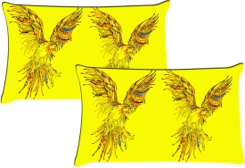 MeSleep Yellow Shades Of Two Birds Pillows Cover - Pack Of 2