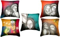 Belkado Digital Print - Set Of 5 Faces Paintings Cushions Cover (Pack Of 5)